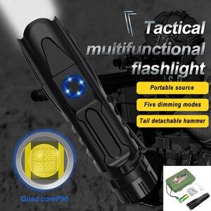Image 1 - 5 מצב XHP90.2 עוצמה LED פנס רכיבה שיירת אור 50000lm פנס טקטי קמפינג Waterproof פנס לפיד בריחה