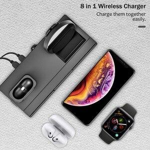 Image 2 - 8 em 1 10 w estação de carregador sem fio qi para iphone xr xs max airpods 2019 apple assista 4 3 rápido apple doca carregamento para samsung