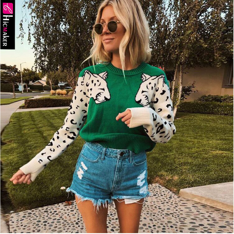 Women Animal Knitted Pullover Sweater Casual O Neck Long Sleeve Sweater Autumn Basic Pull Femme Knitting Jumpers