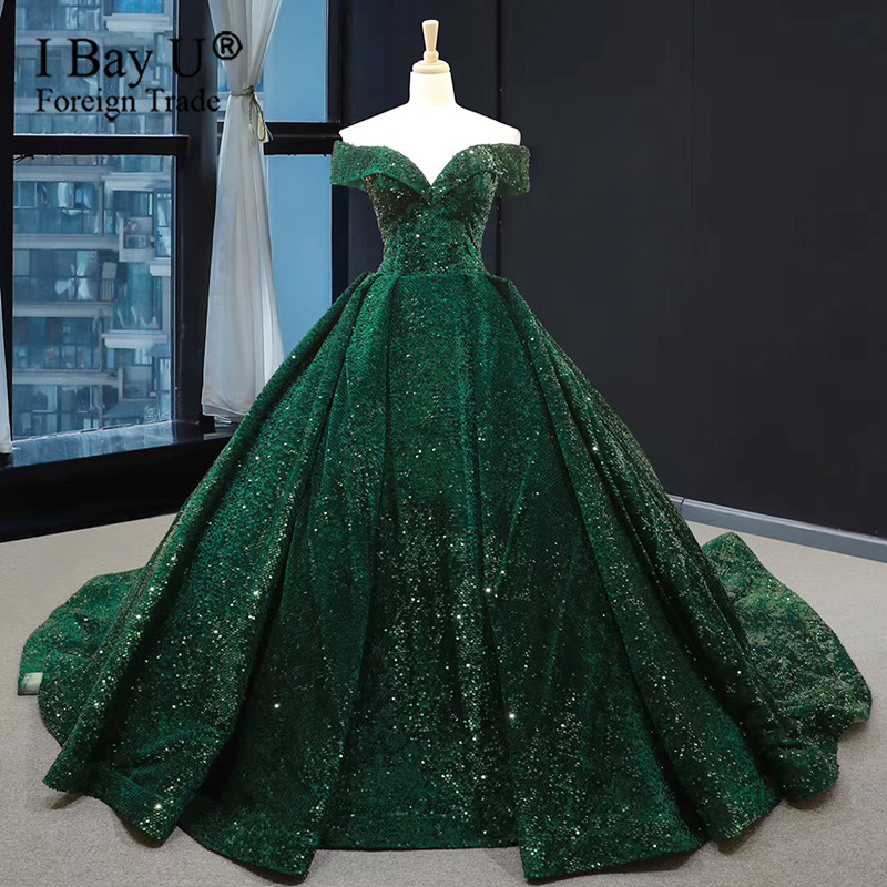 Sparkly Sequins Ball Gown Wedding Dresses Off Shoulder Princess 2020 Bridal Gowns Custom Size Saudi Arabic Vestidos De Novia
