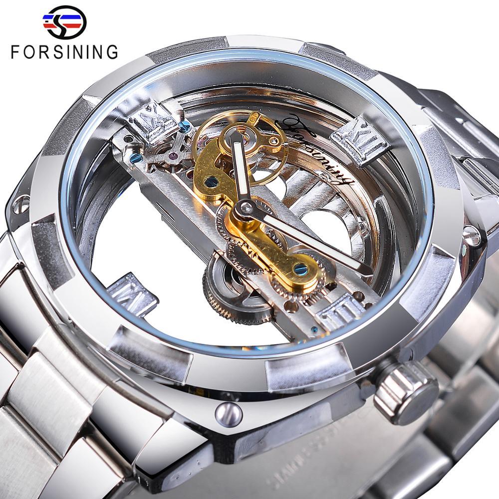 Forsining Men Transparent Design Mechanical Watch Automatic Silver Square Golden Gear Skeleton Stainless Steel Belts Clock Saati
