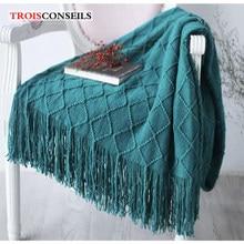 Couverture nordique en fil tricoté, Plaid doux, pour lit, canapé, voyage, TV, multifonction, pour la sieste