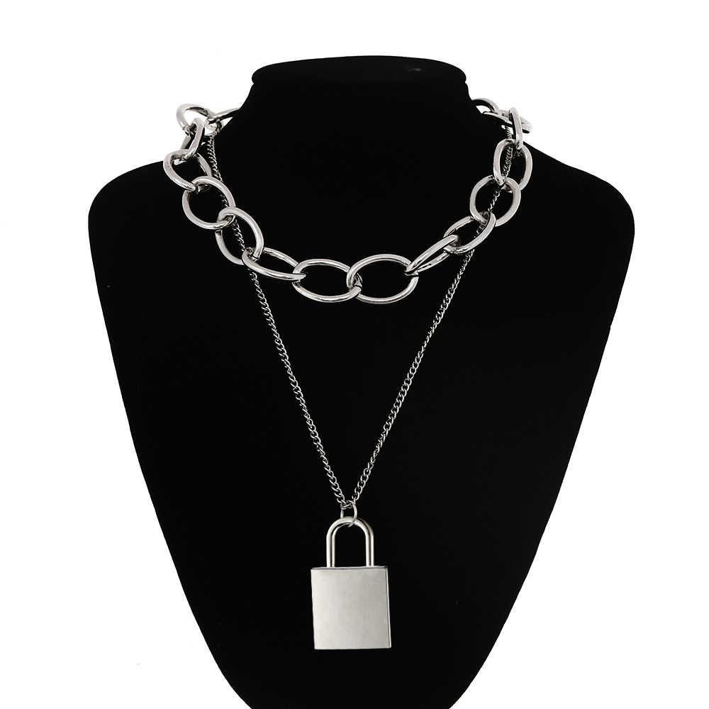 90s kwadratowy zamek naszyjnik kobiety/mężczyźni grubsze łańcuch punk rock kłódka wisiorek naszyjnik w stylu Vintage emo grunge Goth biżuteria