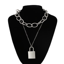 90s square Lock necklace women/men thicker chain punk rock padlock pendant necklace Vintage emo grunge Goth jewelry(China)