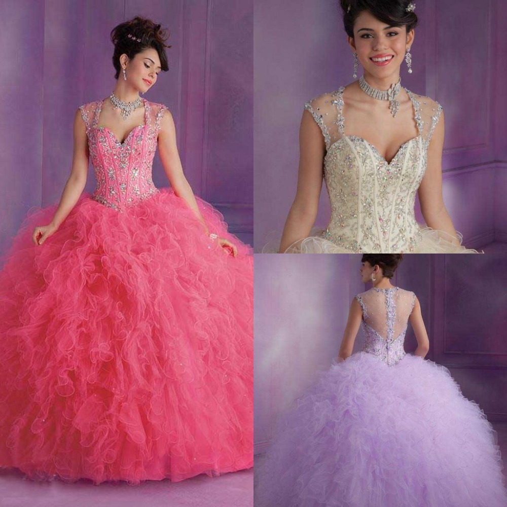 Sweetheart Cap Sleeve Lavender Quinceanera Ball Gown See Through Beaded Ruffles Luxury 2018 Vestidos Mother Of The Bride Dresses
