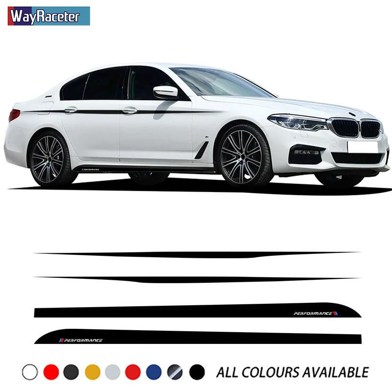 M эффективные автомобильные дверные боковые полосы юбка наклейка верхние полосы Талия линии кузова Комплект наклейка для BMW G30 G31 5 серии акс...