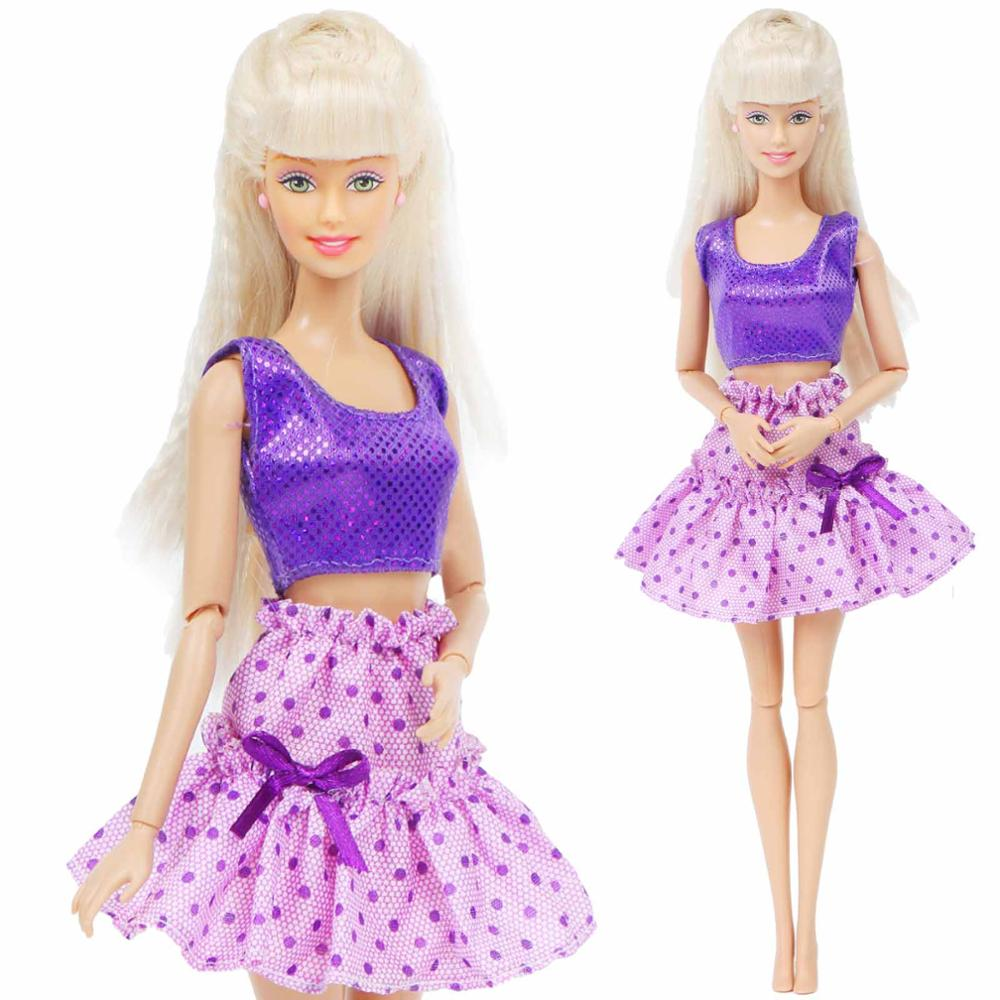 Fashion Doll Dress For Barbie Doll Shiny Tops Shirt Purple Skirt Wave Point Bow-knot Sexy Clothes Kids Toy Accessories 12''