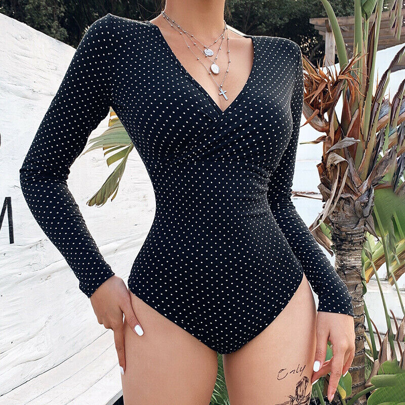Women Ladies Polka Dot Bodysuit Stretch Leotard Long Sleeve Top Jumpsuit  Women Polka Dot Jumpsuit Elegant Bodysuits Black