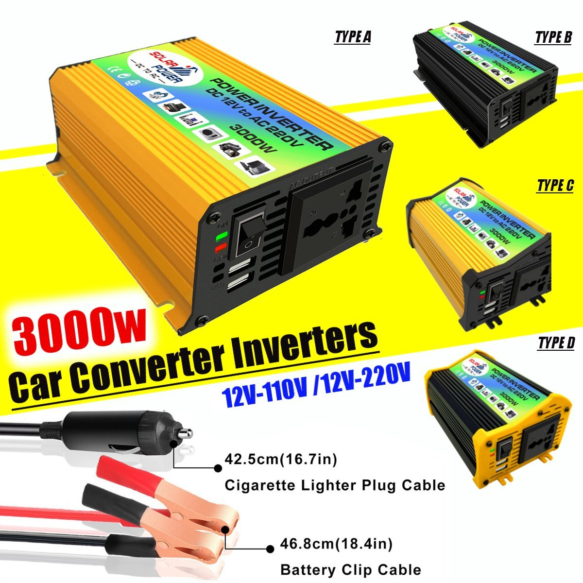 Falownik solarny 3000W napięcie konwerter transformatora DC 12V do AC 110V falownik samochodowy dla falownik solarny urządzenia domowe