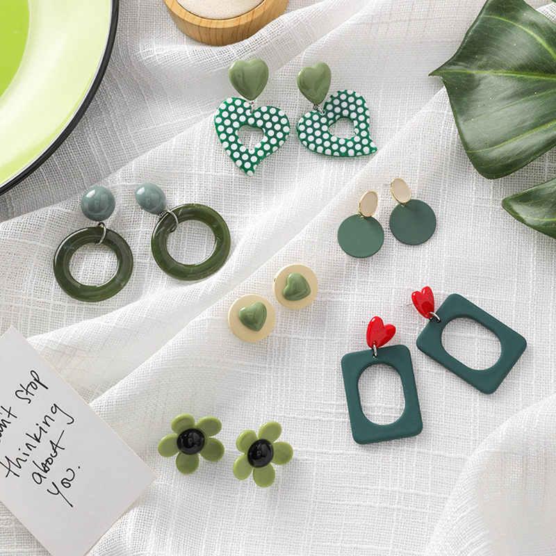 Aretes de declaración hechos a mano de estilo fresco verde profundo Flor de amor aretes geométricos joyería de moda aros de moda aretes 2019