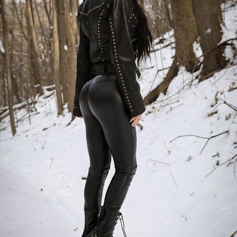 Women Fashion Bodycon Leggings Sexy  Club Sexy Push Up Black High Waist Pants Female  Leather Pu Leggins Trouser