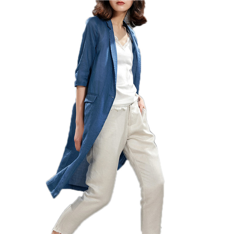 Blazer Jackets For Women 100% Linen Suit 2020 Spring Summer Work Wear Ladies Long Blazer Half Sleeve Blazer Feminina LX392