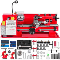 """7""""x12"""" Top Mini MetalMilling Lathe Variable Speed 50 2500 RPM Nylon Gear with A Movable Lamp & 9x Cutters & 1x 4 Jaw Chuck
