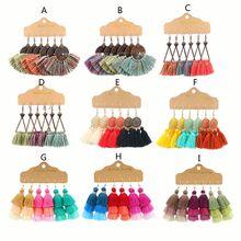 цена на 3 Pairs Bohemian Tassel Drop Earrings Colorful Long Layered Thread Dangle Earrings Earrings Set Fashion Jewelry Women