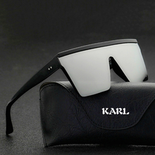 Super Large Square Sunglasses Men Women Flat Top Fashion Len