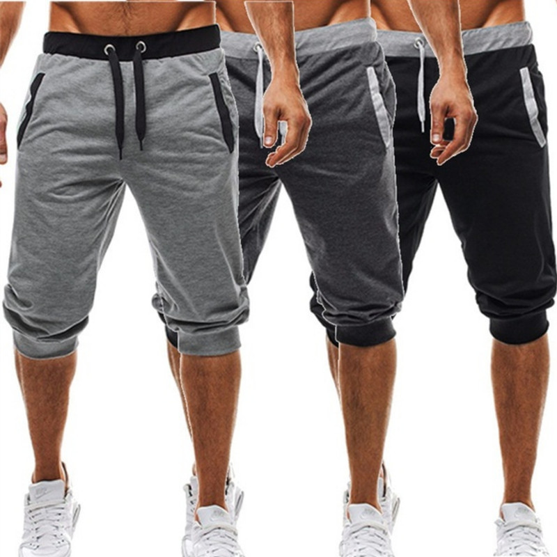 New Shorts Men Hot Sale Summer Leisure Knee Length Shorts Color Patchwork Joggers Short Sweatpants Trousers Men Bermuda Shorts(China)
