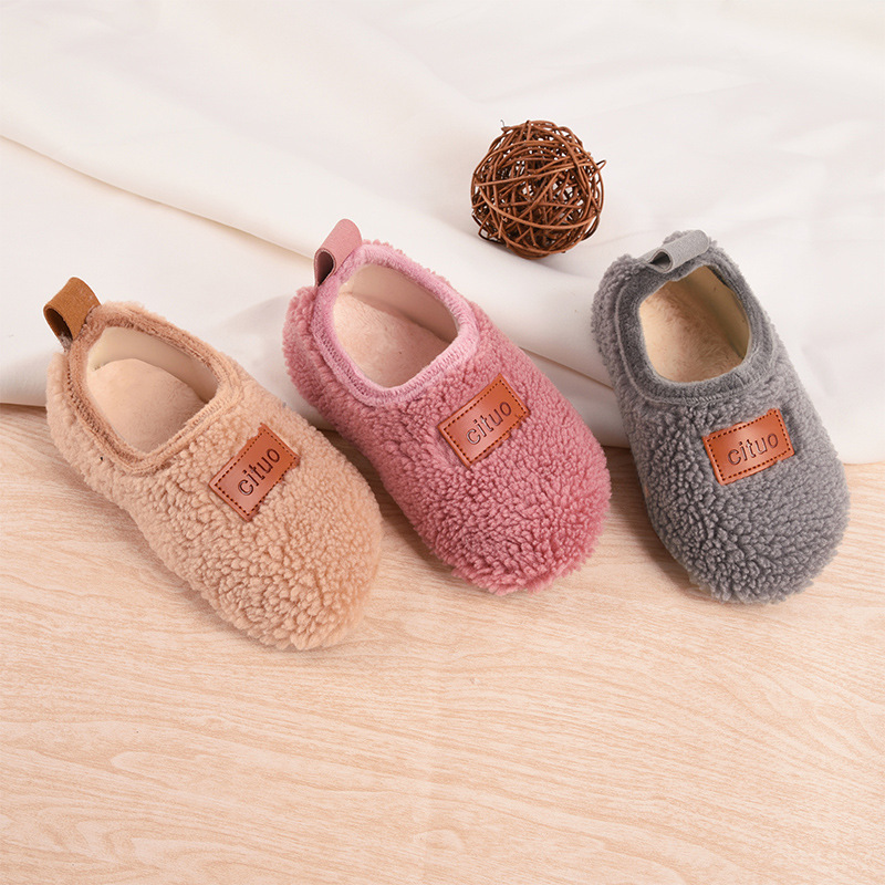 Winter Kids Girls Boys Warm Walkers Infant Toddler Winter Shoes Soft Cute Baby House Slippers Children Footwear Floor Socks