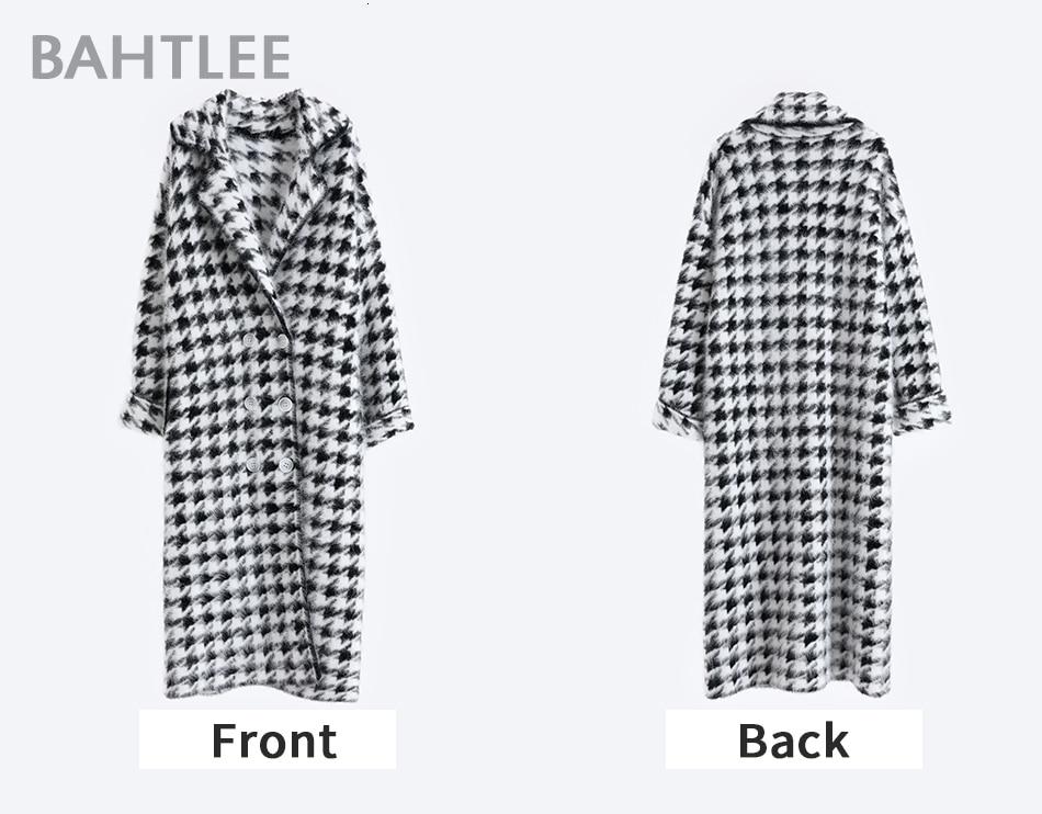 BAHTLEE Women Angora Long Coat Houndstooth Pattern Sweater Winter Wool Knitted Cardigans Jumper Turn Down Collar Long Sleeves 4