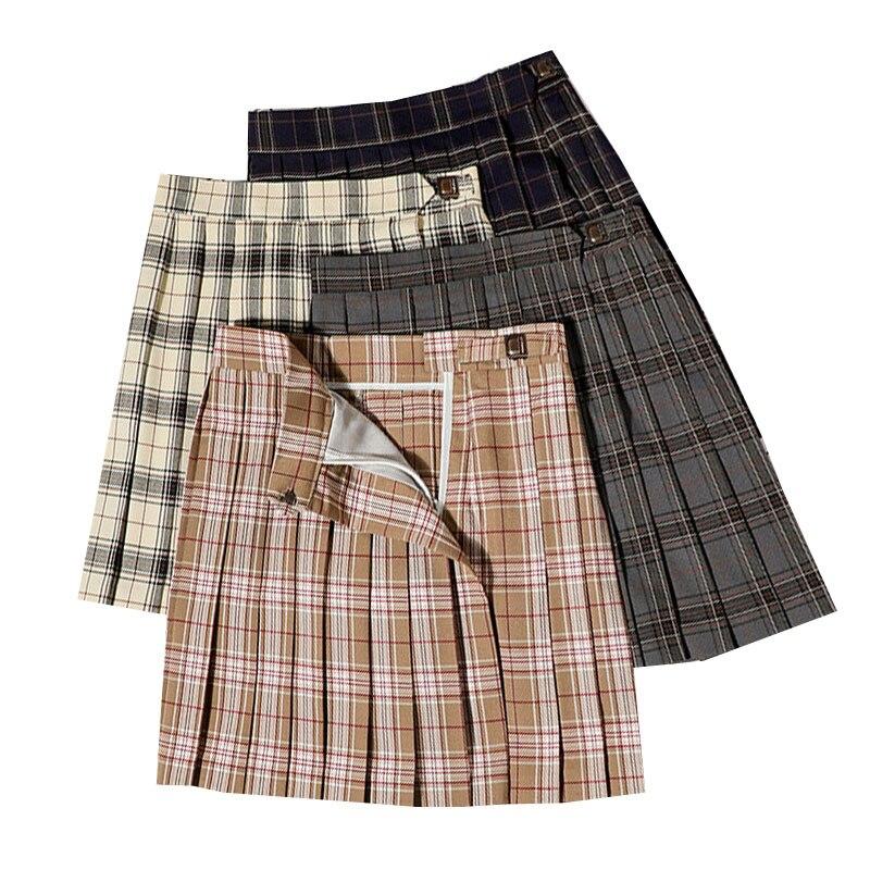 Women High Waist Chic Student Pleated Skirts Sweet Ladies Mini Skirt Harajuku Plaid Skirts Uniforms Preppy Style Pleated Skirt