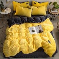 Simple Flannel Velvet Bedding Set 4pcs Queen Solid Duvet Cover Crystal Velvet Sheets Pillowcase Winter Thick Warm Quilt Cover