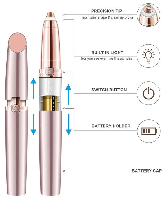 Eyebrow Hair Remover for Women, Eyebrows Hair Removal Electric Trimmer Razor Battery Operated for Smooth Finishing and Painless 5