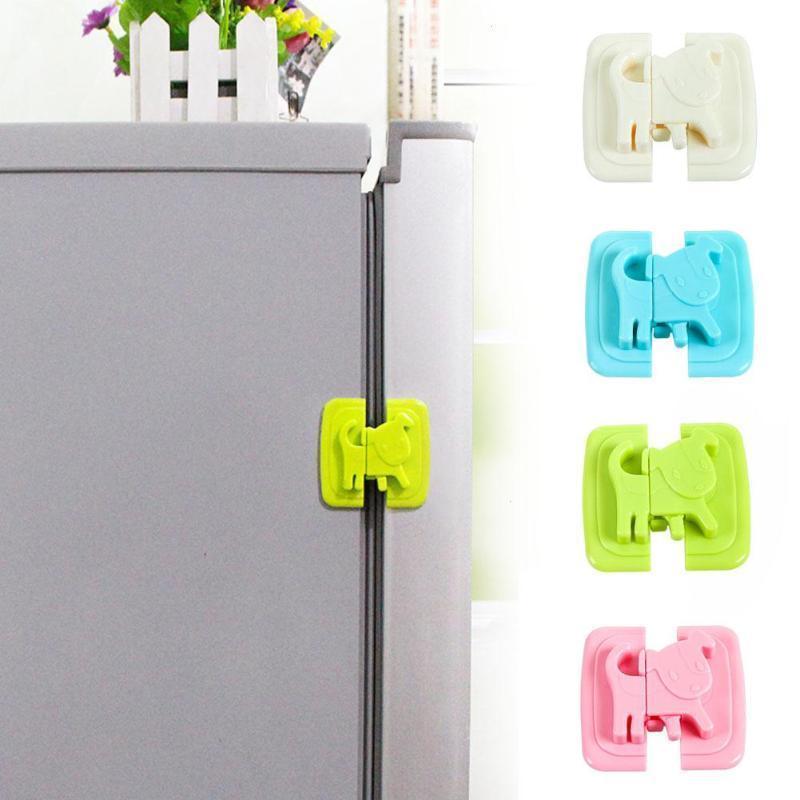2 Small Refrigerator Shape Safety Lock Door Baby Safety Protection Child Lock Castle Safety Blocker Padlock D2
