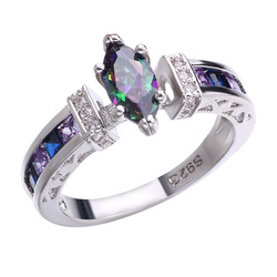 New Trendy Crystal Engagement Claws Design Hot Sale Rings For Women Colorful Zircon Cubic Elegant Rings Female Wedding Jewelry