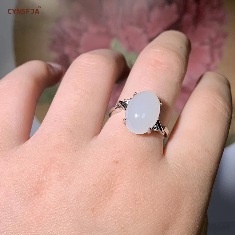 CYNSFJA Real Certificado Natural Hetian Jade Incrustada 925 Prata Esterlina Encantos Artesanais Anéis de Jade Branco de Alta Qualidade Ajustável