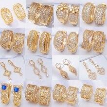 Стразы, циркониевые Кристальные серьги, 30 стилей, круглые серьги-кольца для женщин и мужчин, Позолоченные модные свадебные ювелирные изделия