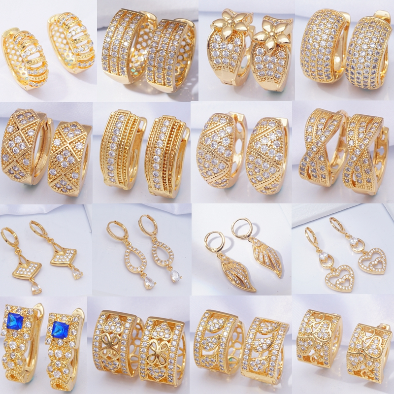 Rhinestone Zircon Crystal Earings 30 Styles Round Circle Hoop Earrings For Women And Men Gold Filled Fashion Wedding Jewelry
