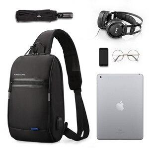 Image 2 - Kingsons mochila de un solo hombro para hombre, Mini mochila impermeable para ordenador portátil, 10,1 pulgadas, pequeña, USB, para correr y montar