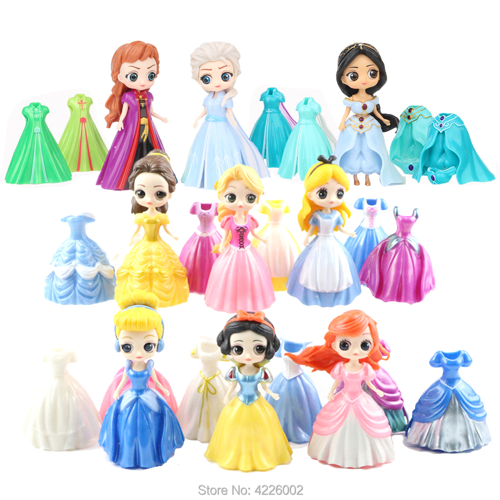 Magic Clip Princess Figures Magiclip Dress Qposket Tangled Alice Amber Tiana Dolls Elsa Anna Model Set Kids Toys For Children