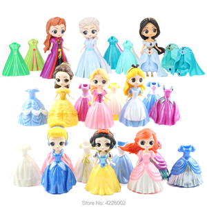 Magic Clip Princess Figures Magiclip Dress Qposket Tangled Amber Mermaid Dolls Elsa Anna Model set Kids Toys for Girls Children(China)