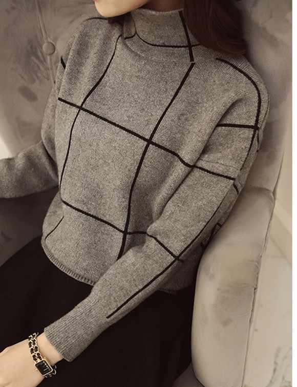 터틀넥 스웨터 여성 풀오버 패치 워크 복장 새로운 캐주얼 느슨한 한 판 두꺼운 긴 소매 니트 의류 vestidos lxj974