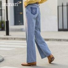 Inman 2020 primavera nova chegada literária retro puro cutton bolso bordado solto slimmed calça solta