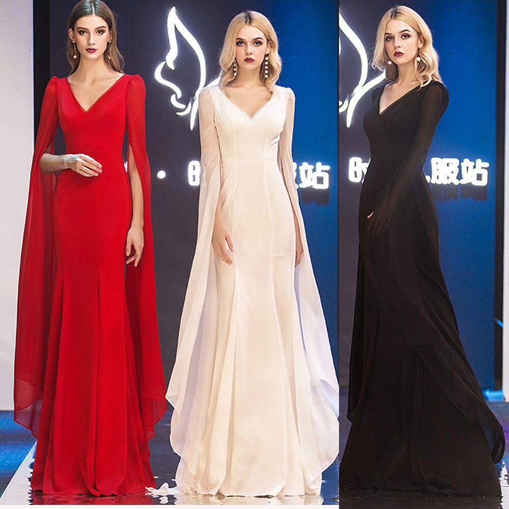 Black Red Queen Evening Dresses Duble V Long-Sleeve Women  Stage Dress Mermaid Zipper Floor-Length Chiffon Vestidoes Evening