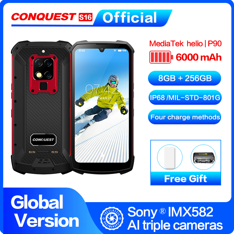 """S16 IP68 Rugged Mobile Phone 6.3"""" Display Helio P90 Octa Core 8GB 256GB 48MP Cam Android 9 Infrared Remote Control Smartphone(China)"""