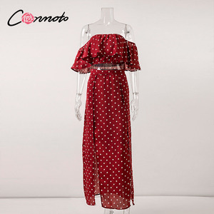 Image 5 - Conmoto Women Off Shoulder Red Vintage Dot Long Dress Summer Maxi Dress Chiffon Ruffle Sexy Beach Dresses Vestidos