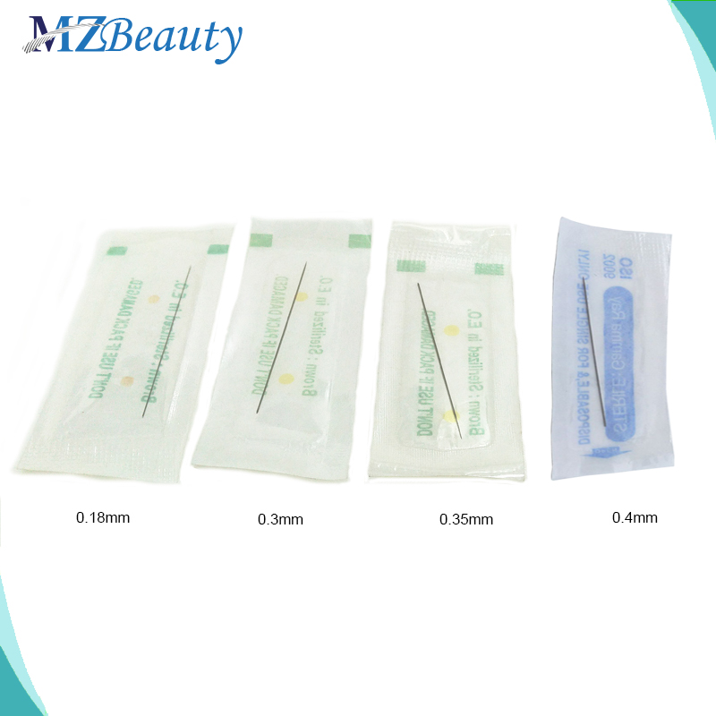 Одноразовые стерилизованные Профессиональные иглы для татуажа, 100 шт., 1RL, 0,18 мм, 0,3 мм, 0,35 мм, 0,4 мм, перманентные иглы для макияжа, agulha