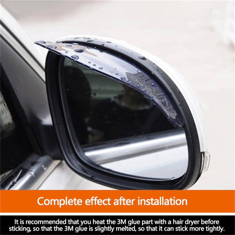 Universal Flexible PVC Car Accessories Rearview Mirror Rain Shade Rainproof Blades Car Back Mirror Eyebrow Rain Cover 2Pcs