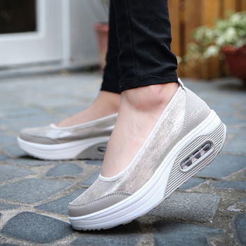 MCCKLE 2021 Women Sneakers Flats Loafers Sweet Shallow Comfort Moccasins Slip-on PU Platform Ballet Ladies Vulcanized Shoes New