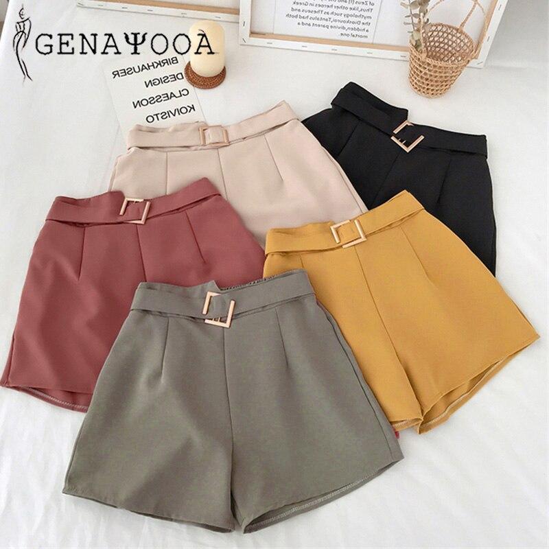 Genayooa Office Elastic Waist   Shorts   Women Mini High Waist   Shorts   with Belt Wide Leg Summer 2020 Harajuku Korean   Short   Feminino