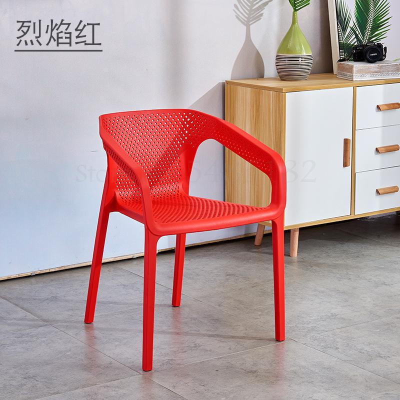 Nordic Plastic Chair Backrest Household Plastic Leisure Outdoor Chair Thicker Cafe Meal Hollow Stackable Armrest