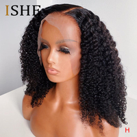 Afro Kinky Curly Transparent Lace Wigs Invisible 13x6 Lace Front Human Hair Wigs For Black Women Pre Plucked Remy Hair 180 ISHE