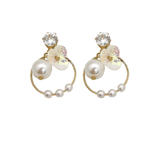 The new design jewelry upscale elegant crystal earrings round gold and silver pearl female wedding dresses
