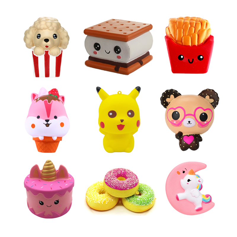 Exquisite Fun Cake Unicorn Donuts  Bear Scented Squishy Charm Slow Rising Simulation Kid Squeeze Toy Kids Toys Birthday Gifts