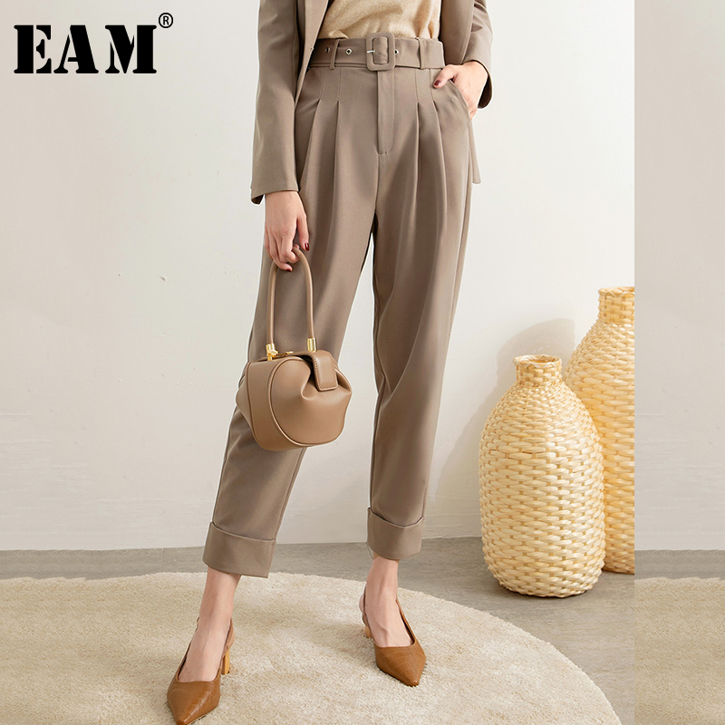 [EAM] High Waist Pleated Split Joint Long Wide Leg Trousers New Loose Fit Pants Women Fashion Tide Spring Autumn 2020 1R949