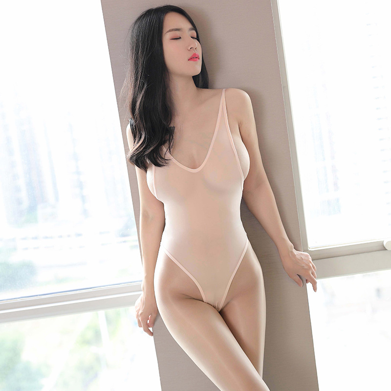 Sexy Deep V Neck Transparent Bodysuit Backless Ice Silk High Cut Perspective Body Suit Smooth See Through Erotic Lingerie Thong