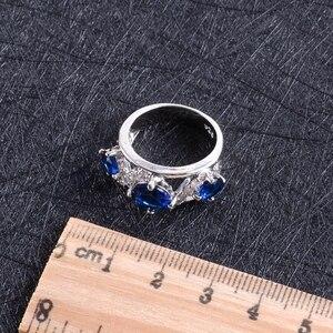 Image 5 - Blue Zircon Silver 925 งานแต่งงานชุดเครื่องประดับชุดจี้สร้อยคอแหวนกำไลต่างหูหินชุดของขวัญกล่อง