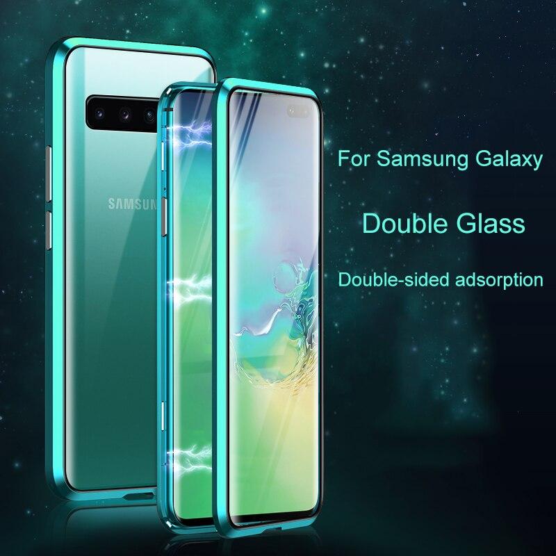 Segunda Geração de Adsorção Magnética de Metal Duplo Caixa De Vidro Temperado para Samsung Galaxy M30 M20 A8 PLUS A9 A7 2018 Caso cobrir